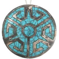 Handmade Aztec Design Inlaid Turquoise Pendant Pin