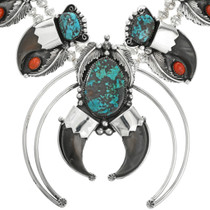 Turquoise Coral Squash Blossom Necklace 31704