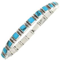 Vintage Turquoise Silver Link Bracelet 31721