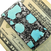 Turquoise Silver Ore Money Clip 31726