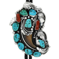 Old Pawn Turquoise Bear Claw Bolo Tie 31738