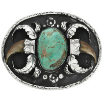 Old Pawn Turquoise Bear Claw Belt Buckle 31742