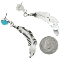 Navajo Turquoise Feather Earrings 31760