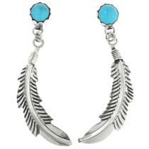 Blue Turquoise Silver Feather Earrings 31760