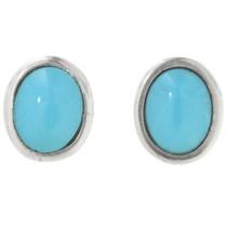 Genuine Turquoise Silver Post Earrings 31761