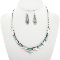 Silver Band Necklace Matching Turquoise Earrings 31794