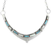 Vintage Inlaid Sterling Silver Turquoise Necklace 31794
