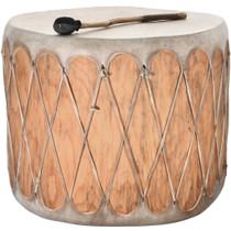 Large Vintage Native American Drum Wood Log Rawhide Powwow 31811
