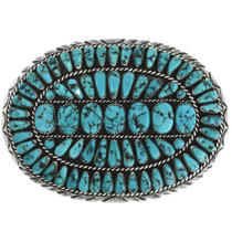 Old Pawn Turquoise Cluster Belt Buckle 31830