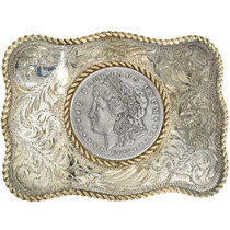 Vintage Gold Silver Belt Buckle With Liberty Dollar 31833