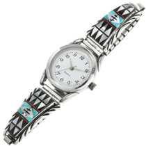 Navajo Inlaid Turquoise Watch Bracelet 31842