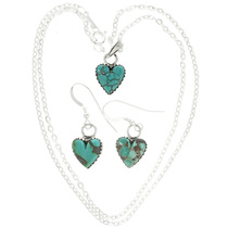 Green Turquoise Heart Silver Pendant and  Earrings Set 31853
