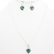 Green Turquoise Heart Silver Pendant  and Earrings with Chain 31853