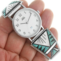 Turquoise Zuni Mens Watch Sterling Tips 31865