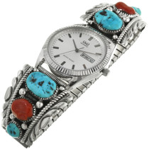Vintage Zuni Turquoise Coral Mens Watch 31870