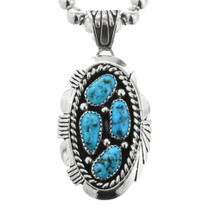Navajo Sterling Silver Turquoise Pendant 32005