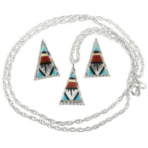 Zuni Inlaid Turquoise Pendant Earrings Set 32009