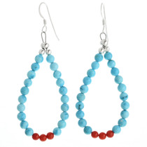 Blue Turquoise Coral Navajo Earrings 32022