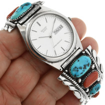 Vintage Turquoise Coral Native American Watch 32070