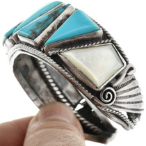 Blue Turquoise with Mother of Pearl in Sterling Silver 32072