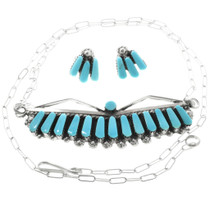 Native American Turquoise Necklace Earrings Set