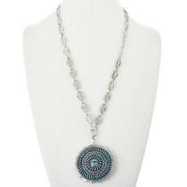 Turquoise Silver Filigree Reversible Pendant Necklace 32094