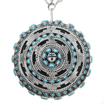 Zuni Turquoise Silver Pendant Necklace 32094