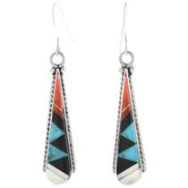 Zuni Inlay Pueblo Dangle Earrings 32107