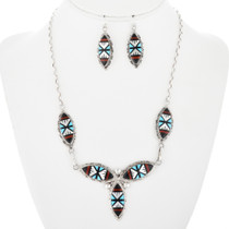 Inlaid Zuni Pattern Sterling Silver Necklace 32142