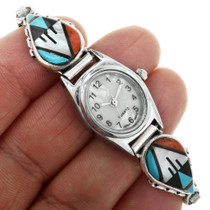 Turquoise Coral Inlay Zuni Watch 32147