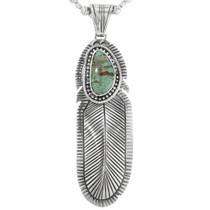 Navajo Turquoise Feather Pendant 32165