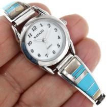 Zuni Inlaid Shell Turquoise Watch 32171