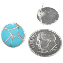 Zuni Turquoise Inlay Sterling Earrings 32182