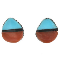 Turquoise Coral Silver Zuni Earrings 32193