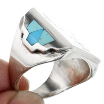 Zuni Turquoise Inlay Mens Ring 32223