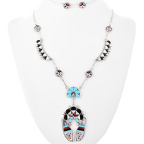 Zuni Inlaid Silver Sunface Necklace 32236