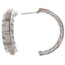 Pink Shell Half Hoop Earrings 32237