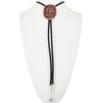 Red Coral Sterling Silver Bolo Tie 32239