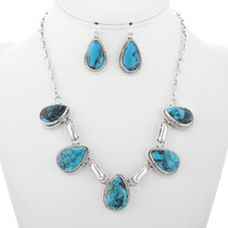 Navajo Turquoise Necklace Earrings Set 32248