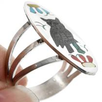 Inlaid Owl Ring Turquoise Malachite 32265