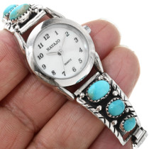 Navajo Made Sterling Silver Turquoise Watch 32271