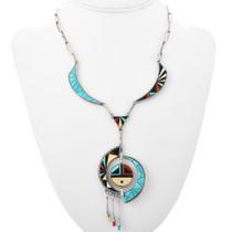 Vintage Zuni Sunface Necklace 32280