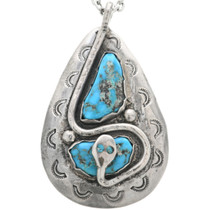 Vintage Turquoise Silver Snake Pendant 32296