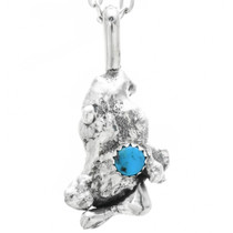 Turquoise Silver Nugget Pendant 32339