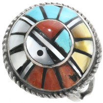 Old Pawn Turquoise Sunface Ladies Ring 32351