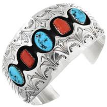 Vintage Turquoise Coral Shadowbox Bracelet 32356