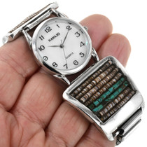 Turquoise Shell Heishi in Sterling Silver Watch 32410