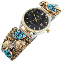 Vintage Turquoise Gold Mens Watch 32411
