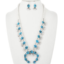 Navajo Turquoise Squash Blossom Necklace Set 32412