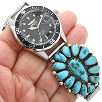 Sleeping Beauty Turquoise Native American Watch 32414